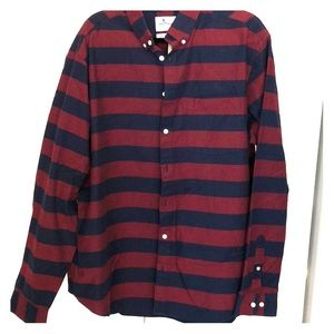 Blue and red striped men's long sleeve shirt